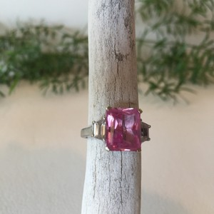 Other White Gold, Pink Sapphire & White Topaz Ring