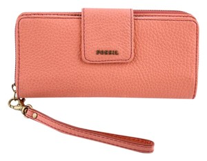 Fossil * Fossil Papaya Orange Sydney Leather Tab Clutch Wallet