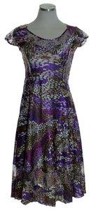 Purple Maxi Dress by Komarov Short Sleeve Crinkle Stretch A-line
