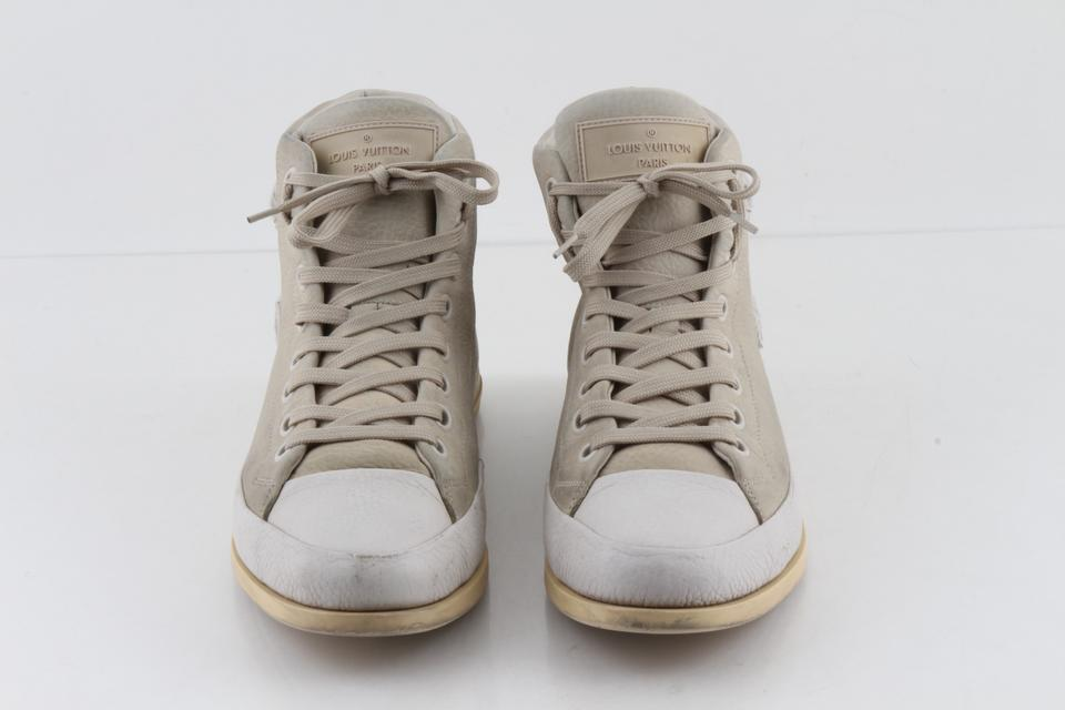 c7eb68c54e79 Louis Vuitton Leather Suede High Top Sneakers Grey Athletic Image 11.  123456789101112