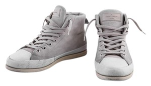 Louis Vuitton Leather Suede High Top Sneakers Ivory Athletic
