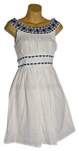Aryeh short dress White and Blue Stitching on Tradesy