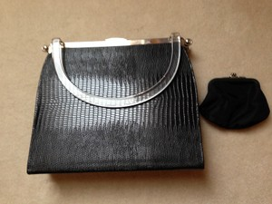 Satchel in Black with silver tone Trim