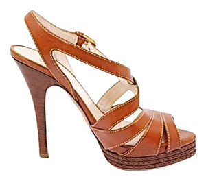 Prada Platform X Strap Open Toe Brown Sandals
