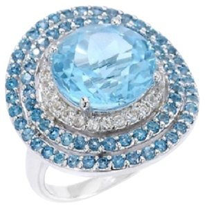 Other 8.35ct Blue Topaz, London Blue Topaz and White Topaz Sterling Silver Ring - Size 7