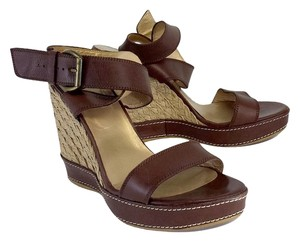 Stuart Weitzman Brown Leather Sandal Wedges