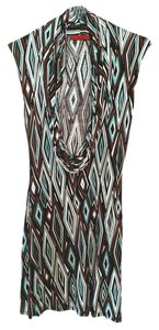 Akira Cowl Neck Bodycon Print Knit Dress