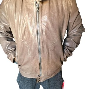 Authentic Hugo Boss Tan Leather Jacket