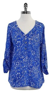 Lilly Pulitzer Blue White 3/4 Sleeve Silk Top