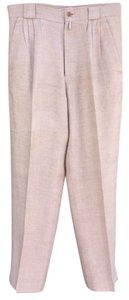 Versace Vintage Linen Gianni High Waist Relaxed Pants Tan