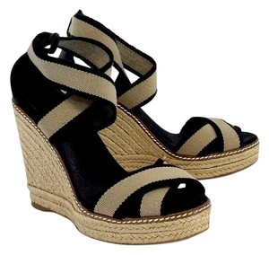 Tory Burch Black Tan Canvas Espadrille Wedges
