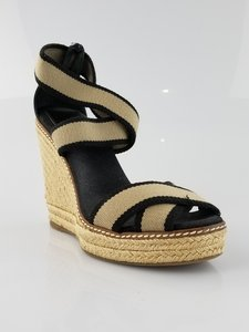 f9f556c31 Tory Burch Canvas Espadrille Black and Beige Wedges