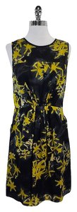 MILLY short dress Black Yellow Abstract Print on Tradesy