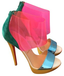 Christian Louboutin Blue Pink Yellow Platforms