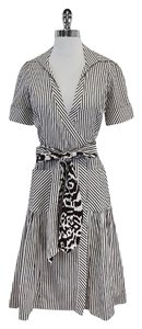 Diane von Furstenberg Brown White Striped Wrap Dress