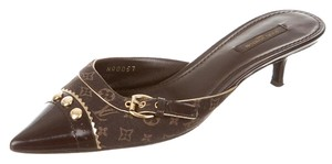 Louis Vuitton Pointed Toe Gold Hardware Lv Monogram Logo Brown, Gold Pumps