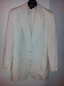 Donna Karan Vintage Single Breasted Welt Pockets Lined Ivory Blazer