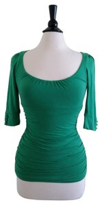 Dynamite Fitted Ruched Chic Top Green