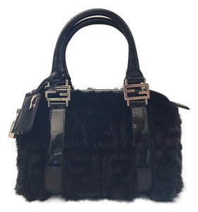 Fendi Mink Mini Boston Speedy Satchel in Black Mink