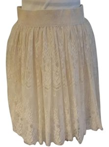 CICI Lace Gathered Cream Puffy Skirt Ivory