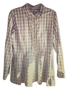 Anthropologie Button Down Shirt Grey and cream