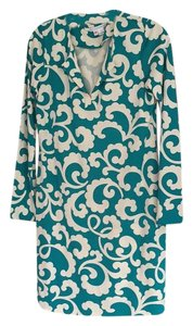 Diane von Furstenberg short dress Turquoise and white on Tradesy