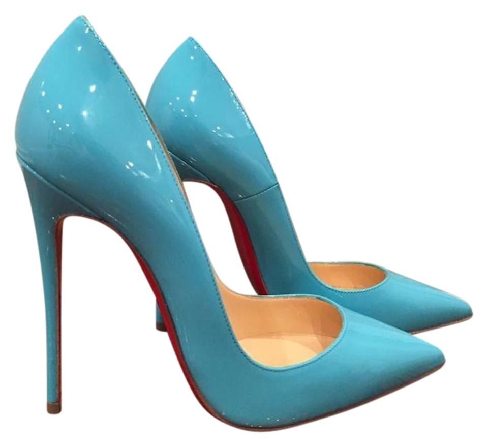 Christian Louboutin Blue So Kate Heel 120 Pacific Neon Patent Heel Kate 35.5 Pumps b38828