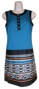 Ann Taylor LOFT short dress Blue, Multi-Colored Cotton Striped Sleeveless on Tradesy