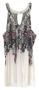 American Eagle Outfitters Summer Floral Top White Grey Purple