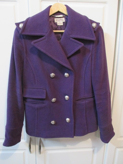 MICHAEL Michael Kors Military Buttons Embellished Military Jacket Wool Pea Coat