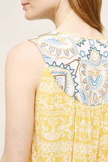 Anthropologie $98 Larkspur Embroidery By One.september New Size: S 4 Top Yellow - 36% Off Retail free shipping