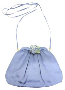 Judith Leiber H09858 Evening Satin Rose Blue Clutch
