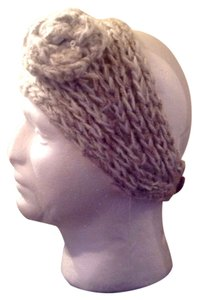 Other Grey Sweater Beaded Flower Head Wrap Hat