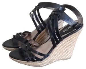 Charles David Platform Ankle Strap Wedge Heel Espadrille Black Sandals