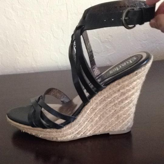 Charles David Platform Ankle Strap Wedge Heel Espadrille Black Sandals Image 2