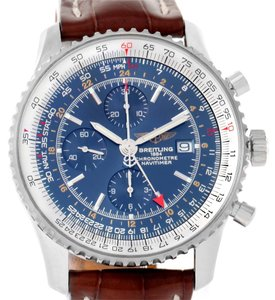 Breitling Breitling Navitimer World GMT Steel Blue Dial Brown Strap Watch A24322