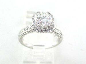 18k White Gold Solitaire Wedding Engagement Ring Band 69 Diamonds 1.56 Carat Gia