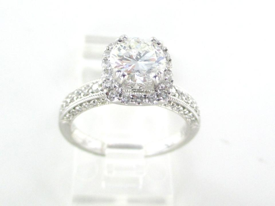 Gold 18k White Solitaire Engagement Ring 69 Diamonds 1.56 Carat Gia Women s  Wedding Band ... 26b4fd0a6f
