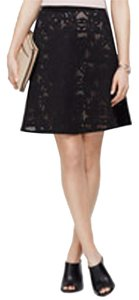 Ann Taylor Lace Laser Cut And Tan Skirt Black