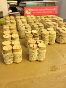Lace and Tan Wine Cork Table Number Holders Centerpiece