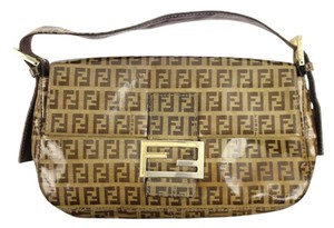 Fendi Patent Leather Coated Canvas Baguette