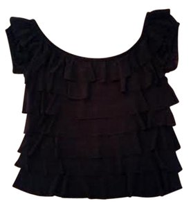 Cache Vintage Ruffled Top Black