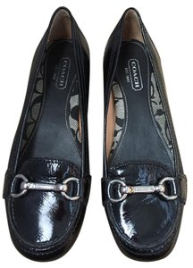 Coach Loafer Patent Leather Logo Black Patent Flats