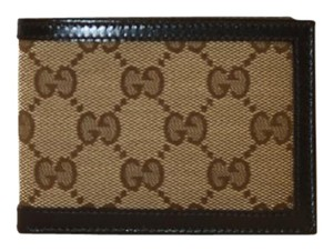 Gucci Gucci Wallet Small Beige Canvas and Brown Leather 233157 (Men)