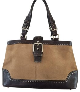 Coach Suede Leather Satchel in Tan and Dark Brown