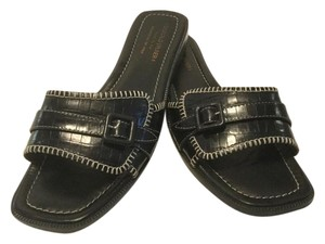 Donald J. Pliner All Leather White Topstitching Strap And Buckle Italian Black embossed Sandals