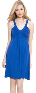 Calvin Klein short dress Blue Jersey Stretch Halter Ruched on Tradesy