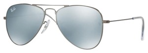 Ray-Ban NEW! Kids Aviator Sunglasses, Matte Gunmetal/Grey Flash, 50mm