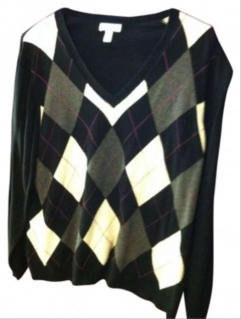 Preload https://item3.tradesy.com/images/charter-club-black-with-argyle-white-grey-and-purple-woman-cardigan-size-22-plus-2x-165537-0-0.jpg?width=400&height=650