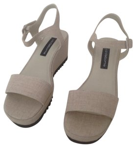 Liz Claiborne NATURAL WASHED LINEN Wedges